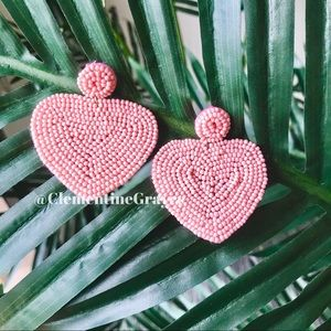 Jewelry - 2 for $30 NWT Light Pink Heart Beaded Earrings